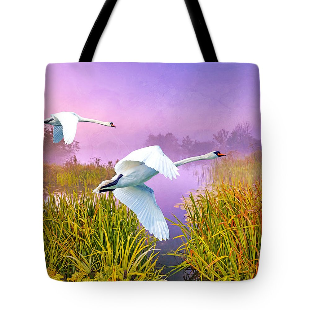 Swans Tote Bag featuring the photograph Mute Swans Over Marshes by Laura D Young