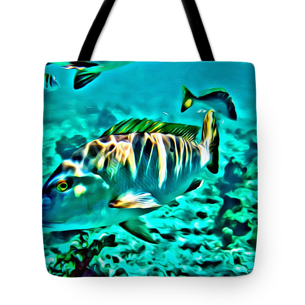 Snapper Tote Bag featuring the digital art Mutton Snapper by Anthony C Chen