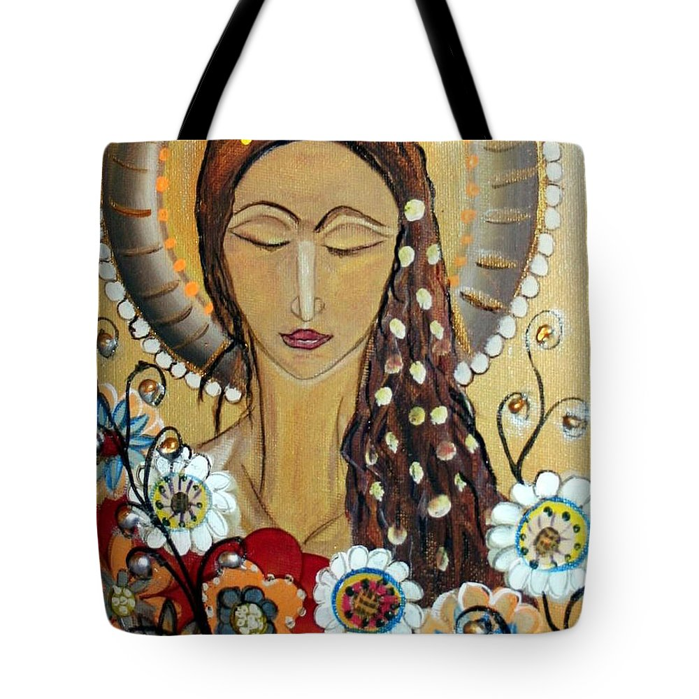 Art Tote Bag featuring the painting My Angel Modern Icon by Luiza Vizoli