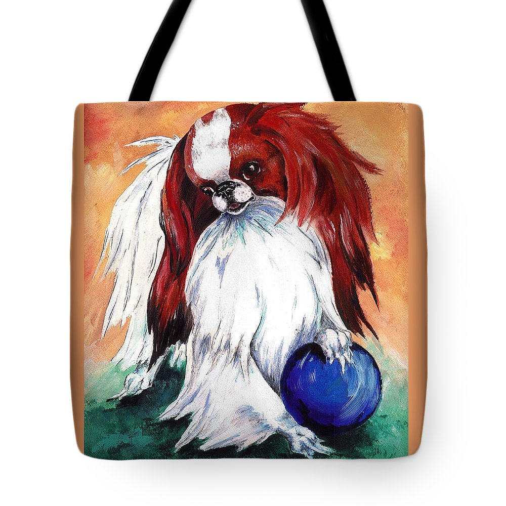 Japanese Chin Tote Bag featuring the painting My Ball by Kathleen Sepulveda