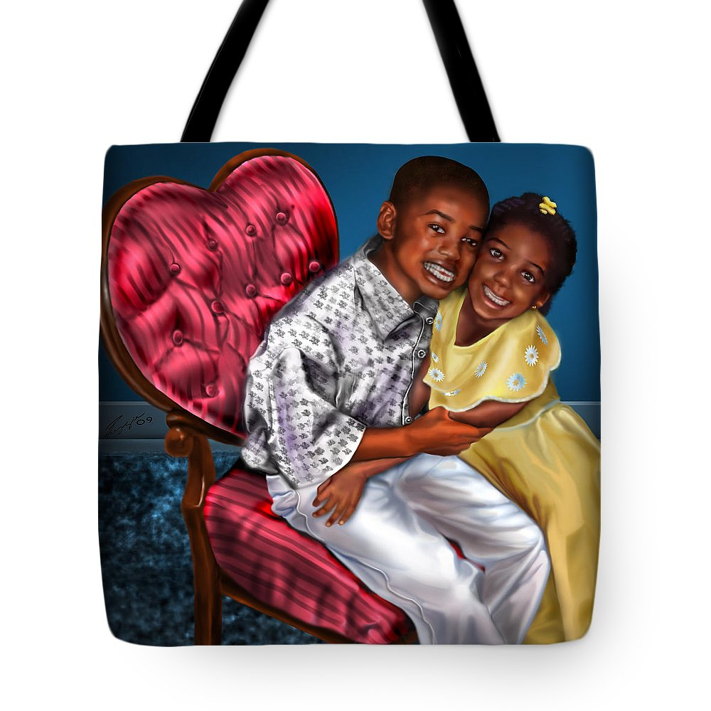 Boy And Girl Tote Bag featuring the painting My Big Brother-my Little Sister1 by Reggie Duffie