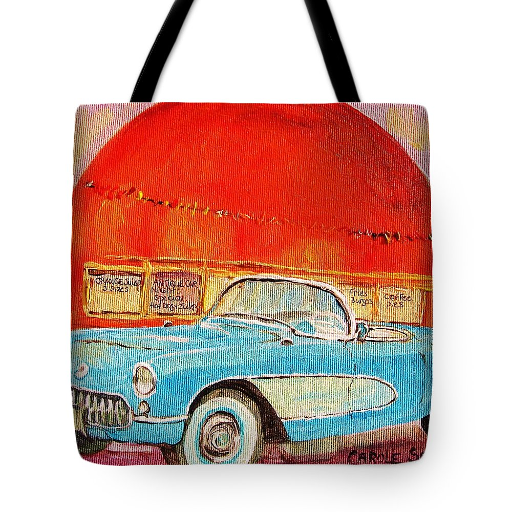 Montreal Tote Bag featuring the painting My Blue Corvette At The Orange Julep by Carole Spandau