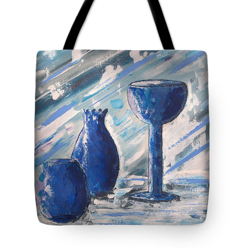 Vases Tote Bag featuring the painting My Blue Vases by J R Seymour