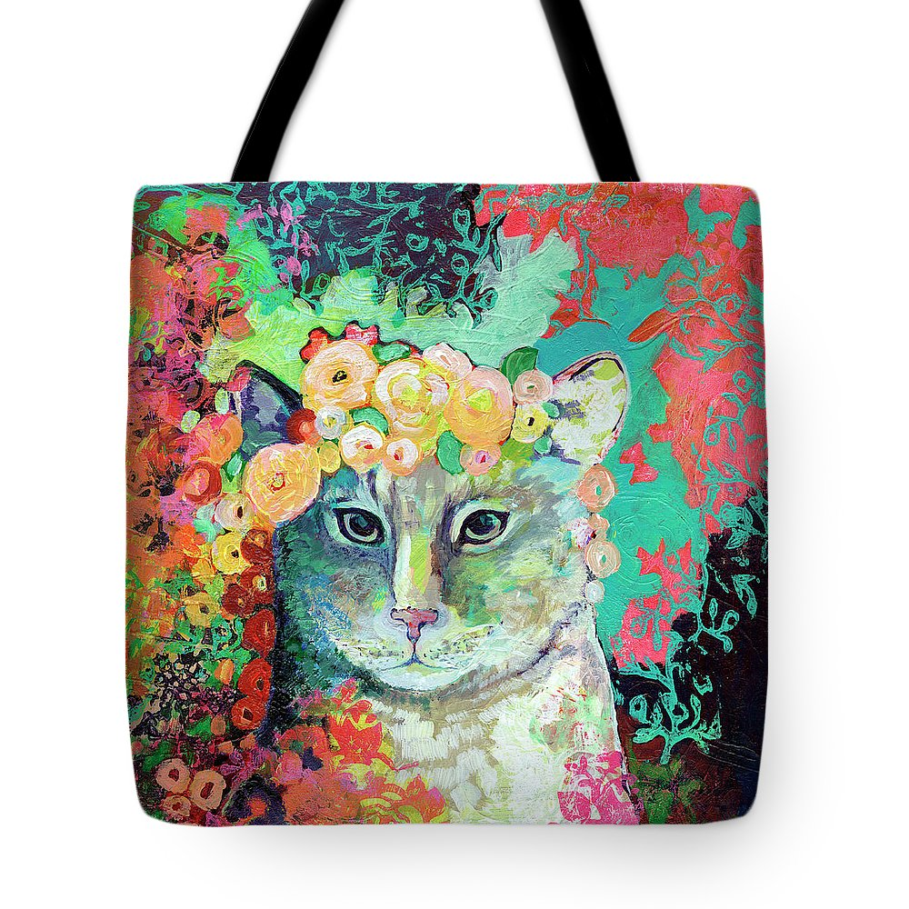 Cat Tote Bag featuring the painting My Cat Naps in a Bed of Roses by Jennifer Lommers