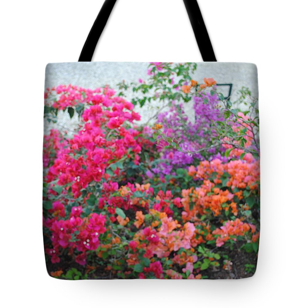 Photo Of Flowers Tote Bag featuring the photograph My Colorful Bouganville by Fiona Dinali