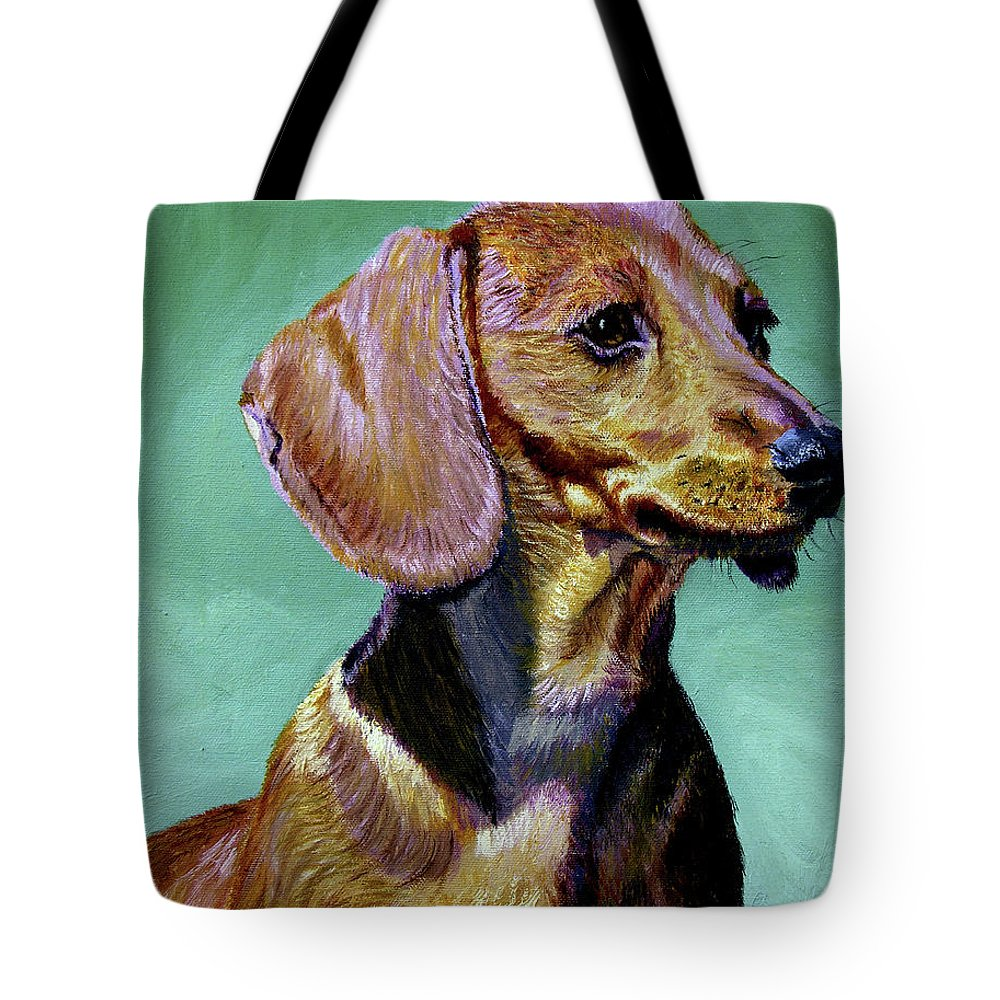 Daschund Tote Bag featuring the painting My Daschund by Stan Hamilton