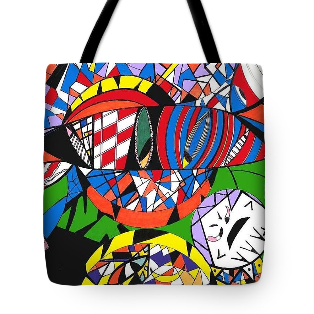 Psychedelic Tote Bag featuring the painting My Eyes by Safak Tulga