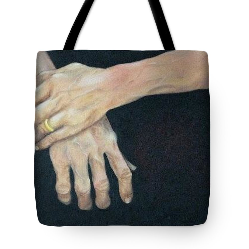 Hands Tote Bag featuring the painting My Father's Hands by Jan Brown Caraway
