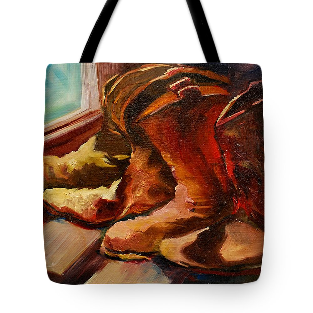 Boots Tote Bag featuring the painting My Favorite Boots by Diane Whitehead