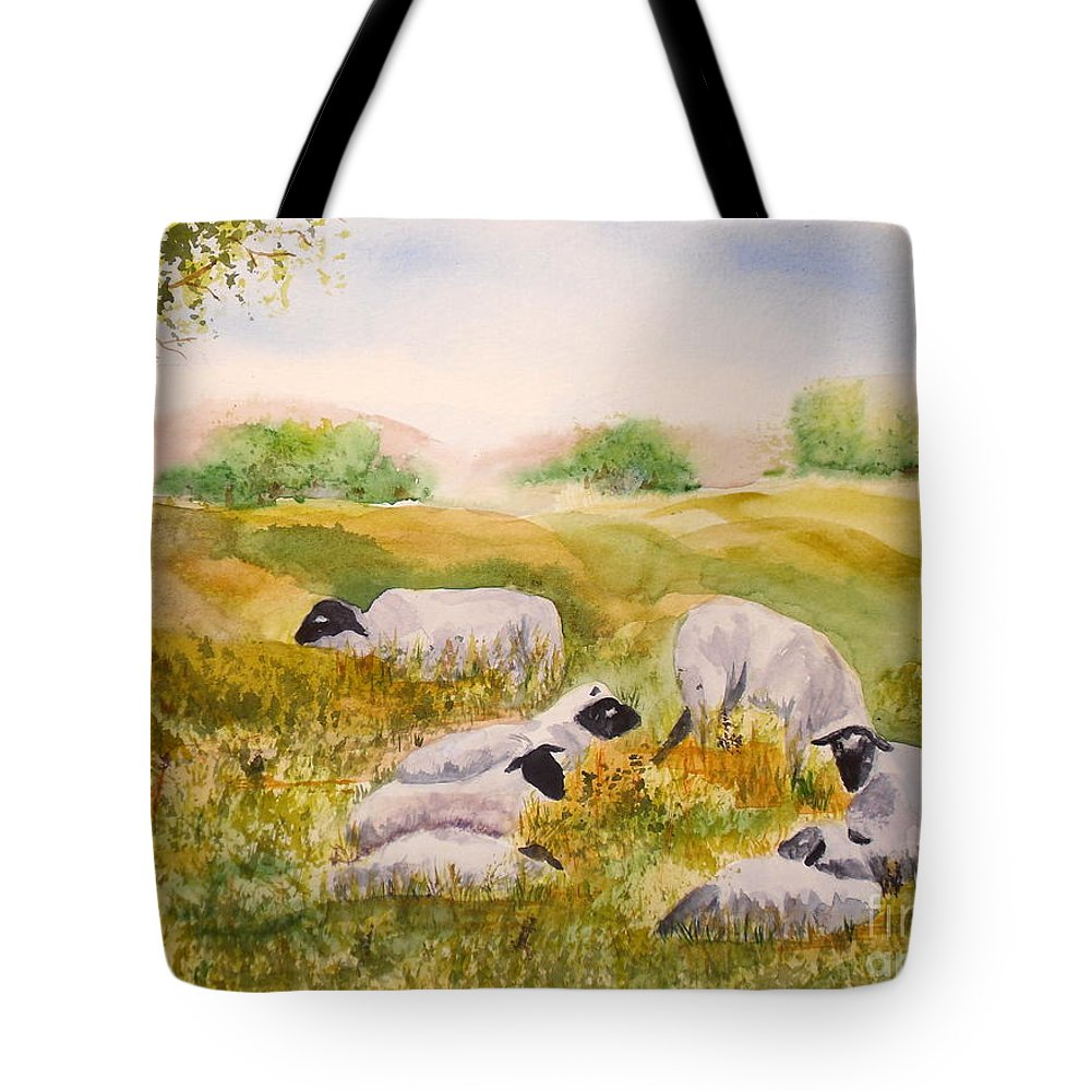 Sheep Tote Bag featuring the painting My Flock Of Sheep by Vicki Housel