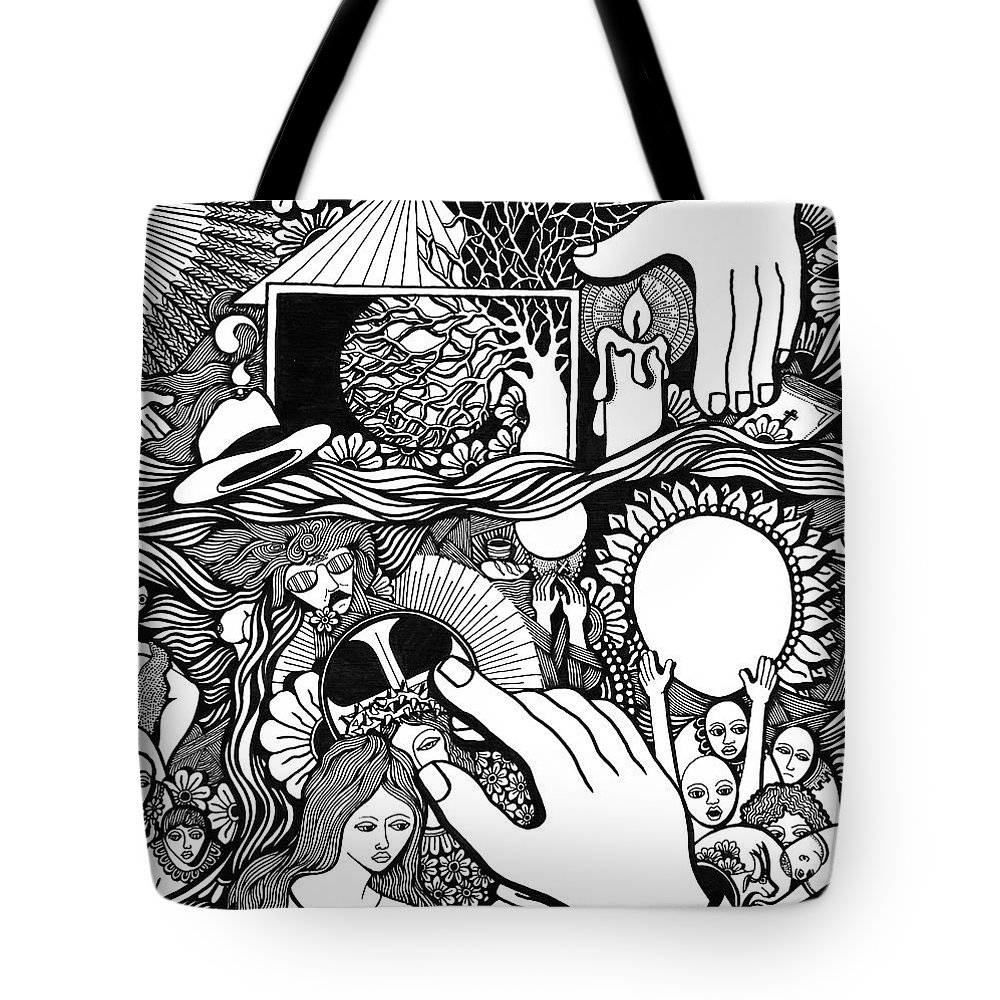 Drawing Tote Bag featuring the drawing My God And I That Have No Charity by Jose Alberto Gomes Pereira