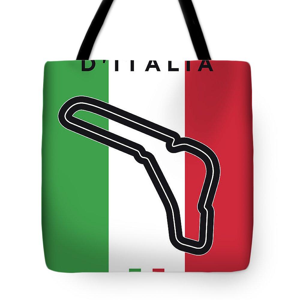 Autodromo Tote Bag featuring the digital art My Gran Premio D Italia Minimal Poster by Chungkong Art
