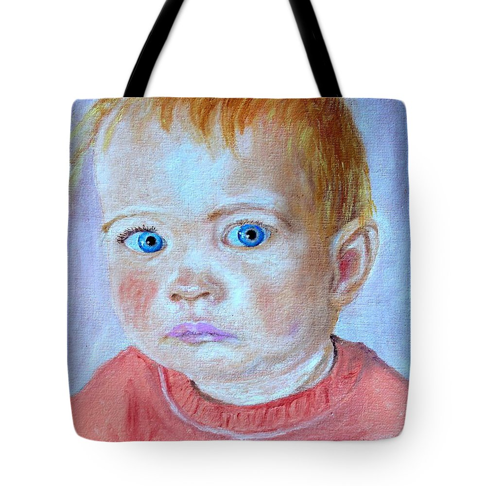 Leonie Tote Bag featuring the painting My Granddaughter Leonie by Helmut Rottler