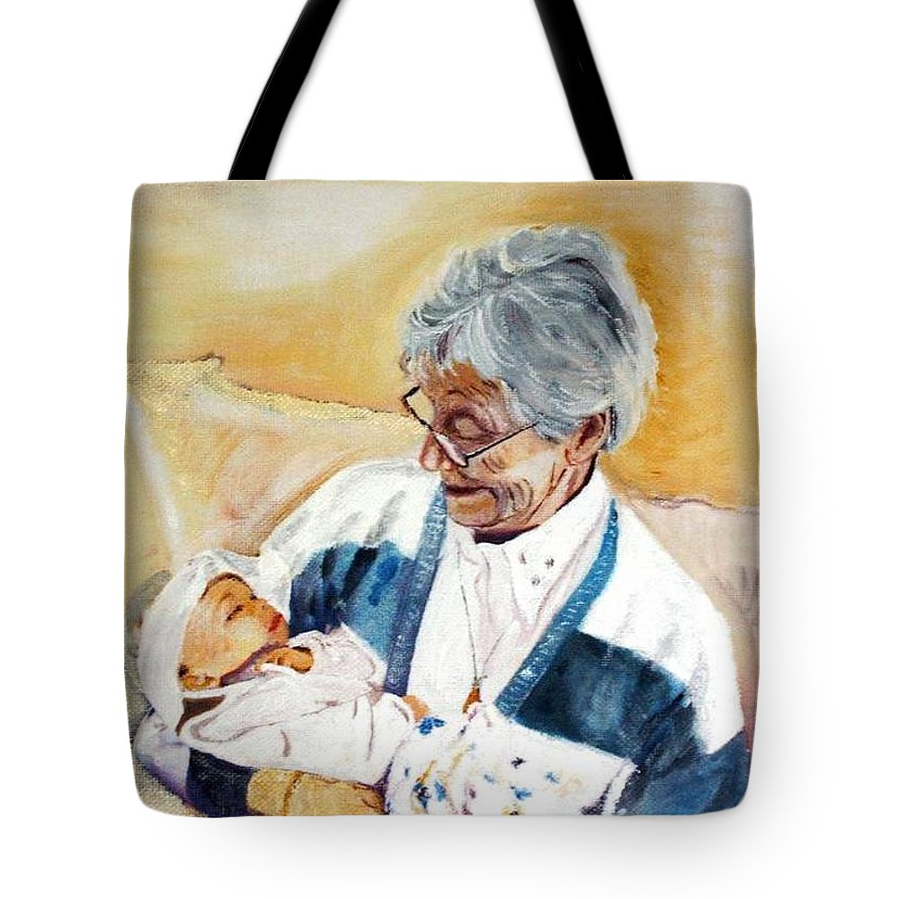 Portrait Tote Bag featuring the painting my granddaughter Leonie with her great grandmum by Helmut Rottler