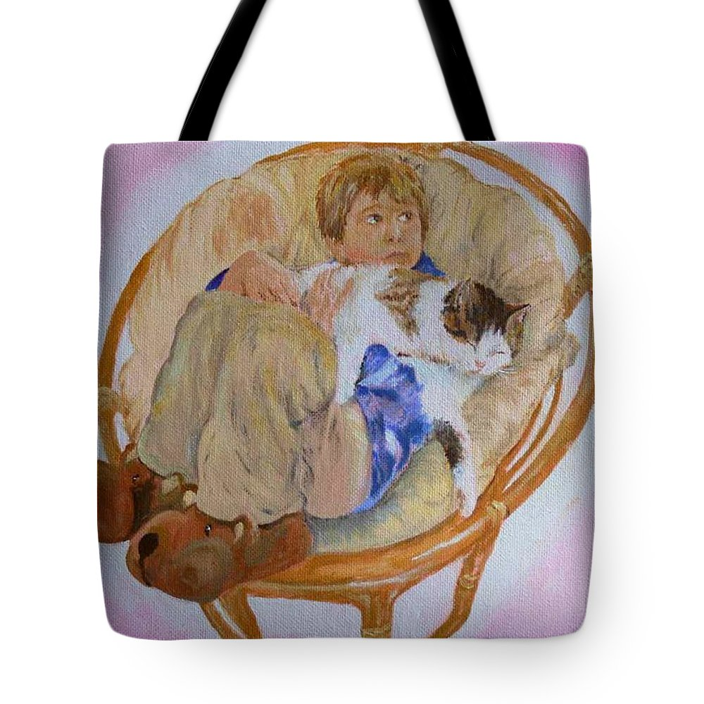 Portrait Tote Bag featuring the painting my grandson Pascal with his cat Paul by Helmut Rottler