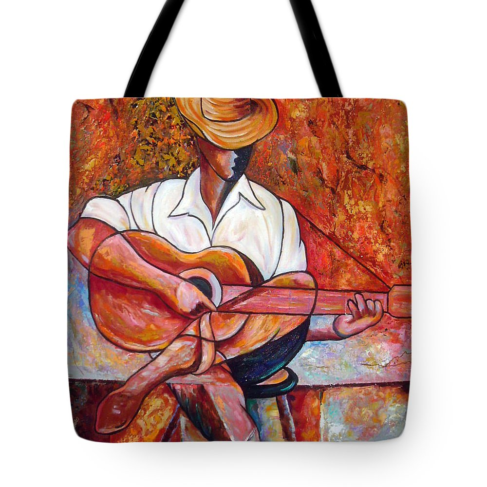 Cuba Art Tote Bag featuring the painting My Guitar by Jose Manuel Abraham
