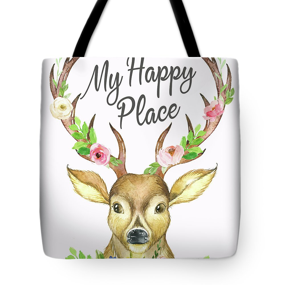 My Happy Place Tote Bag featuring the digital art My Happy Place Woodland Boho Deer by Pink Forest Cafe