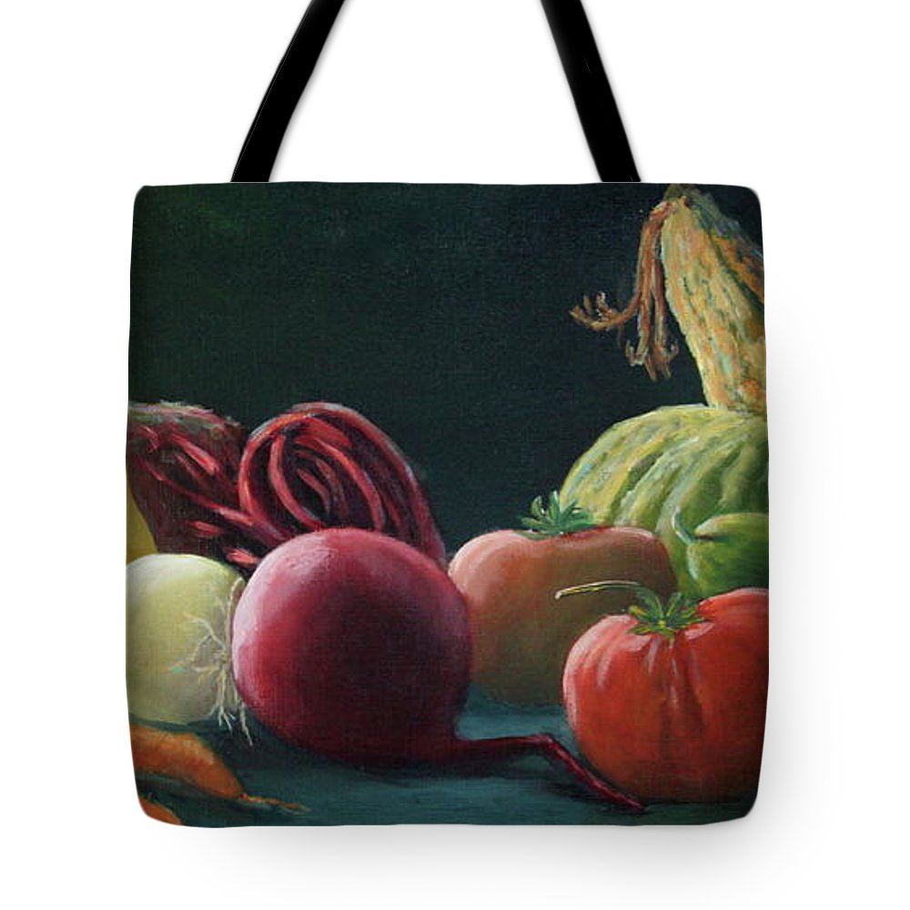 Zucchini Tote Bag featuring the painting My Harvest Vegetables by Lorraine Vatcher