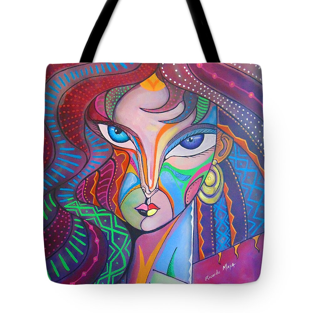 Portrait. Cubism Pop Woman Face Art Deco Tote Bag featuring the photograph My Havana Girl IIi Alina by Ricardo Maya