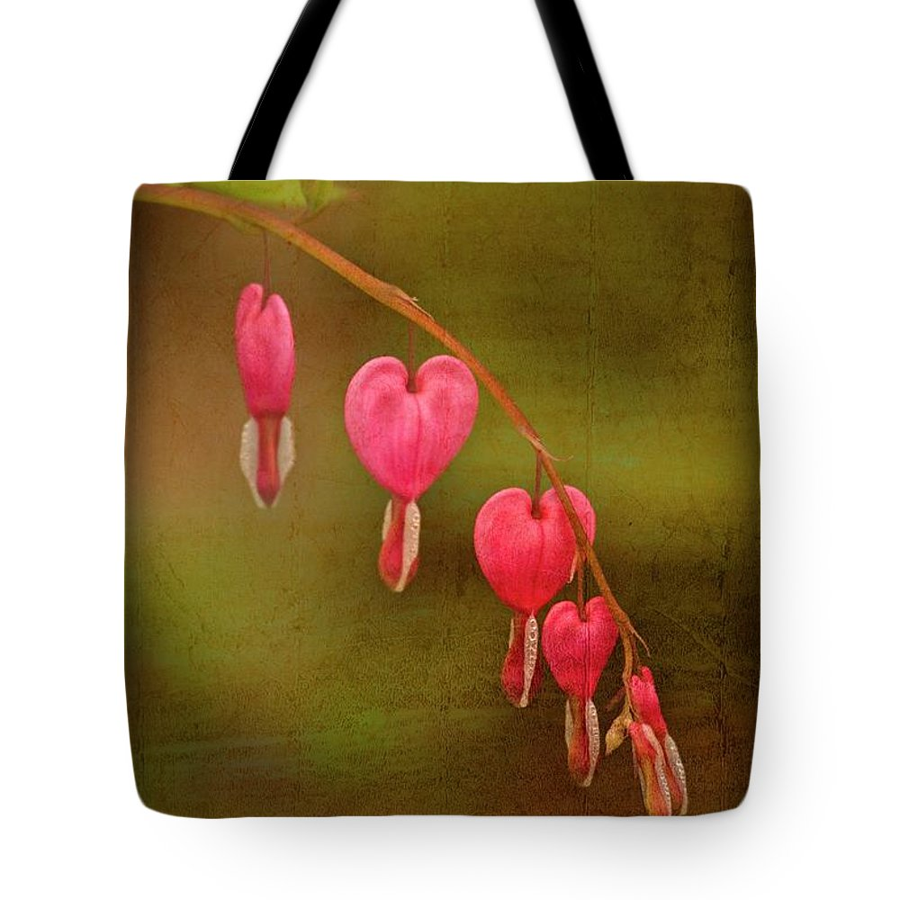 Bleeding Hearts Tote Bag featuring the mixed media My Heart Bleeds by Karol Livote