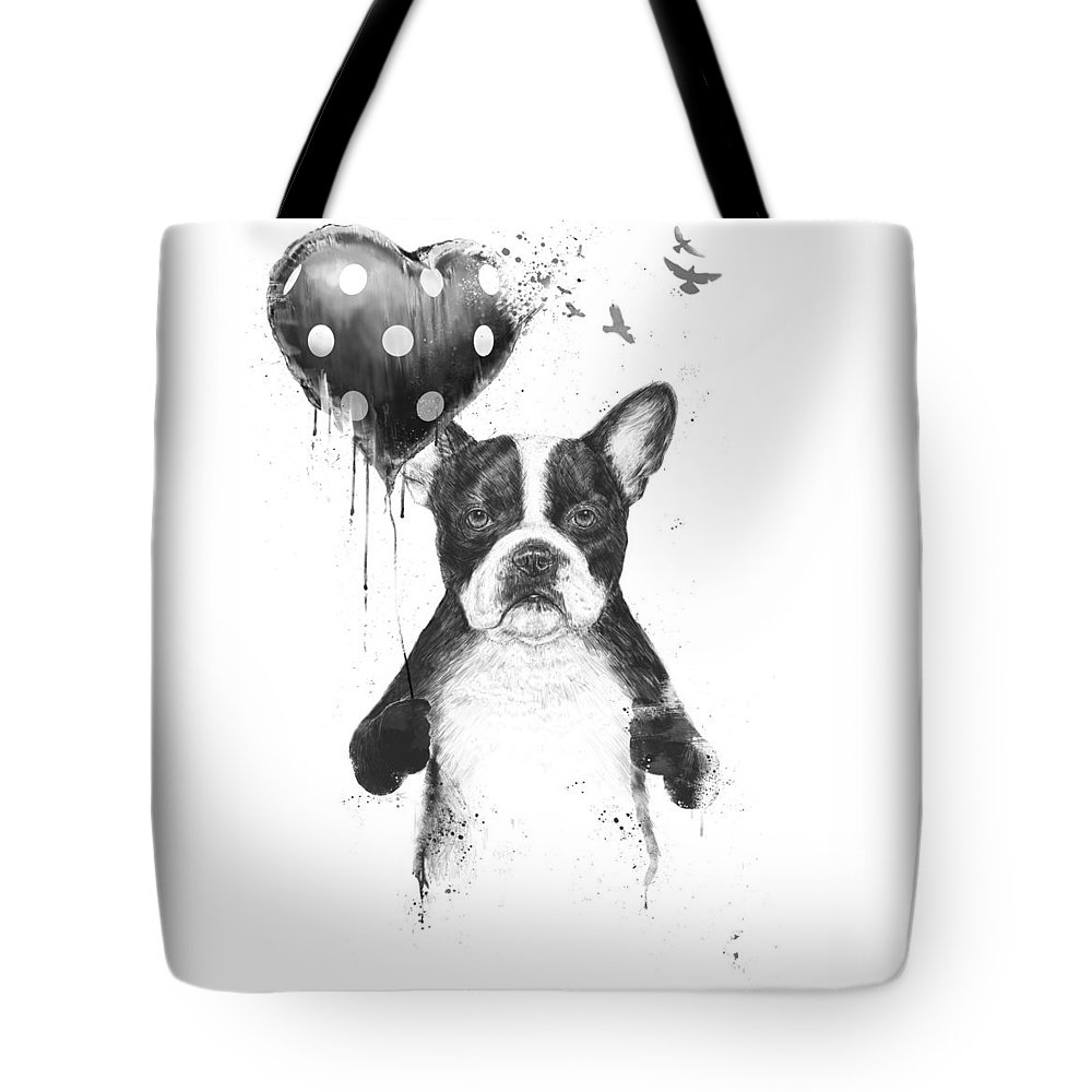 Bulldog Tote Bag featuring the mixed media My heart goes boom by Balazs Solti