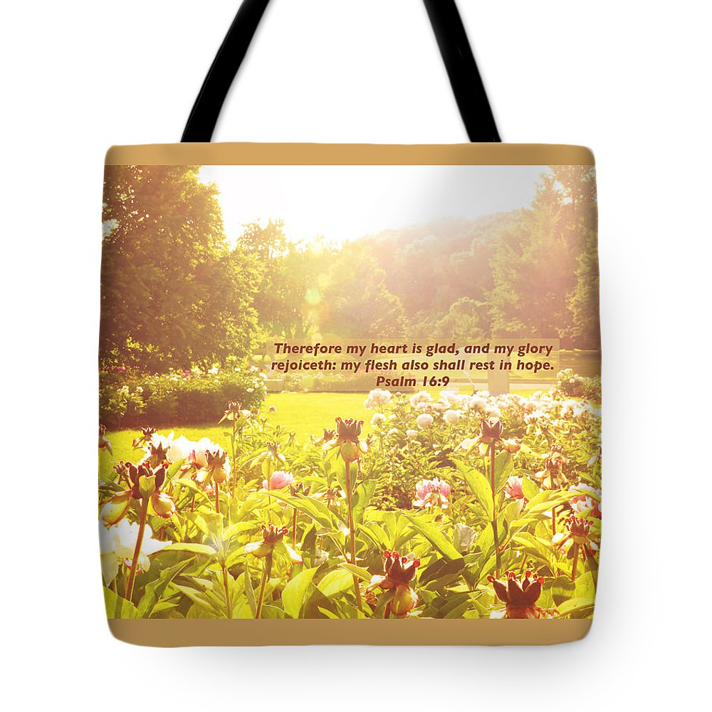 Boerner Botanical Gardens Tote Bag featuring the photograph My Heart Is Glad by Debbie Nobile