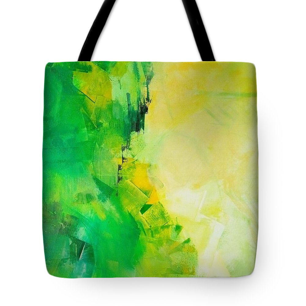 An Abstract Painting By Anupam Gupta Tote Bag featuring the painting My Heart Leaps Up by Anupam Gupta