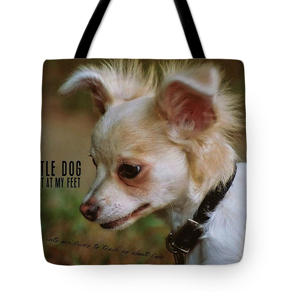 Dog Tote Bag featuring the photograph My Heart Quote by JAMART Photography