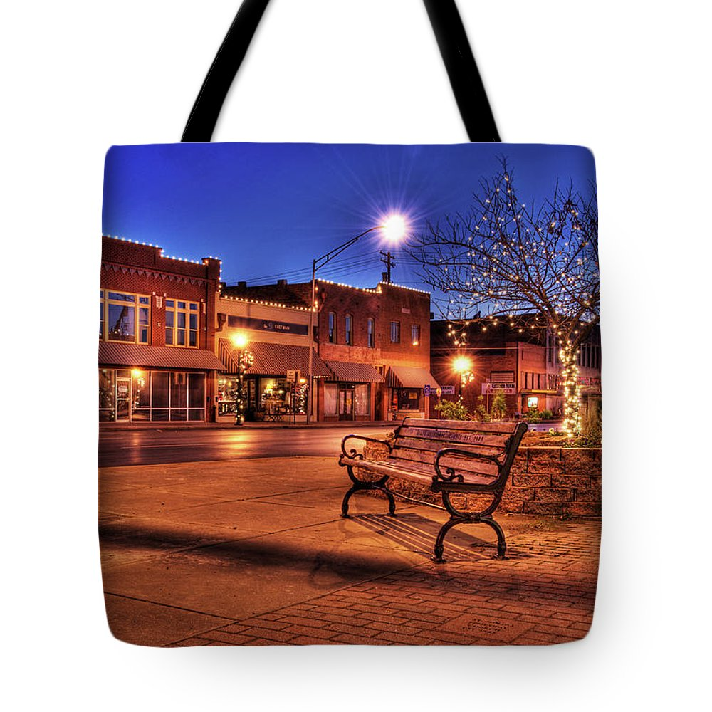 Bench Tote Bag featuring the photograph My Hometown by Tamyra Ayles
