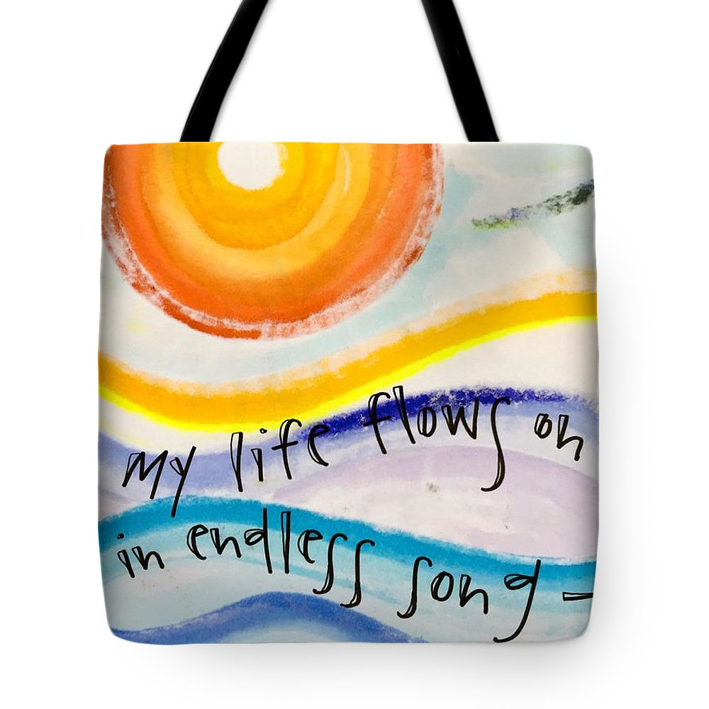 Life Tote Bag featuring the painting My Life Flows On by Vonda Drees