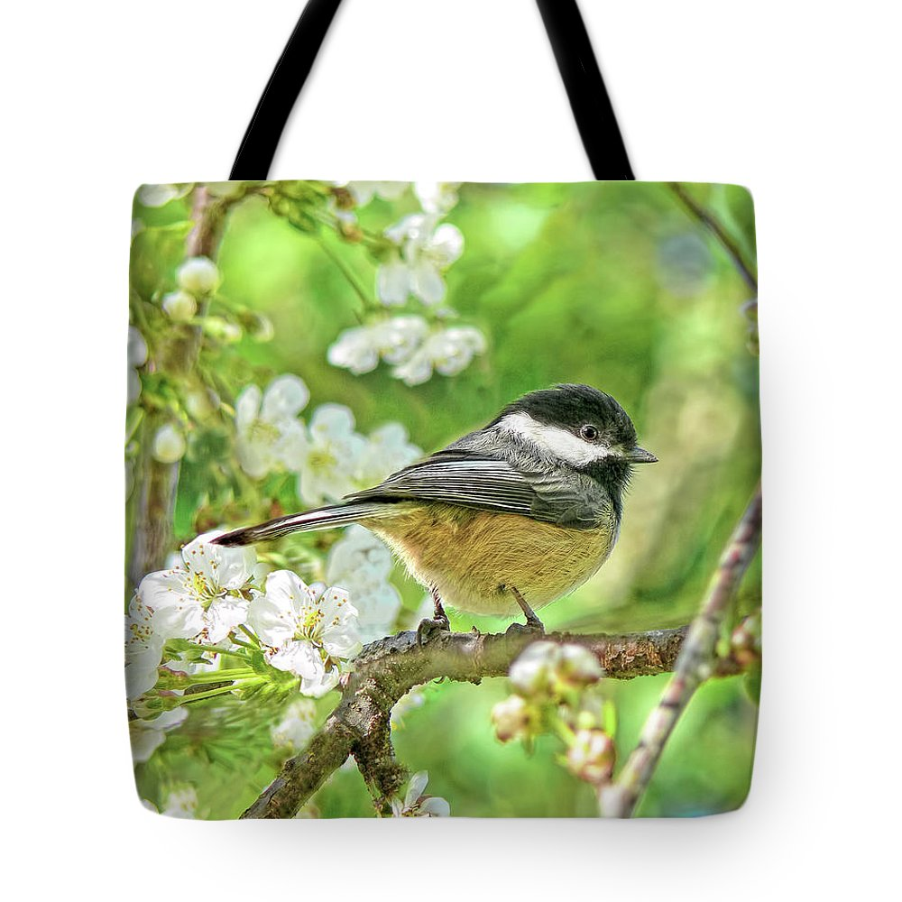 Chickadee Tote Bag featuring the photograph My Little Chickadee In The Cherry Tree by Jennie Marie Schell