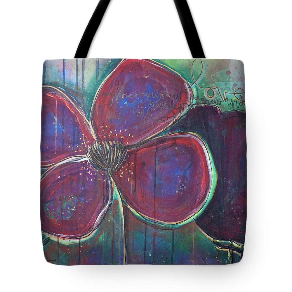 Poppies Tote Bag featuring the painting My Love For You Grew And Grew by Laurie Maves ART
