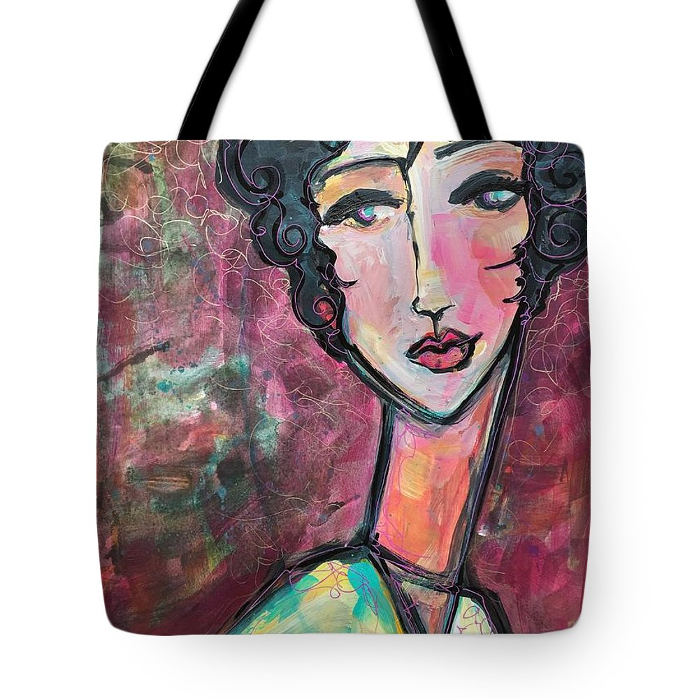 Abstract Expressionism Tote Bag featuring the painting My Love Lies In Venezia by Laurie Maves ART