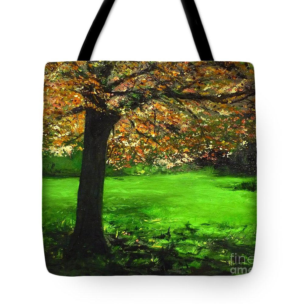 Spiritualism Tote Bag featuring the painting My Love Of Trees I by Lizzy Forrester