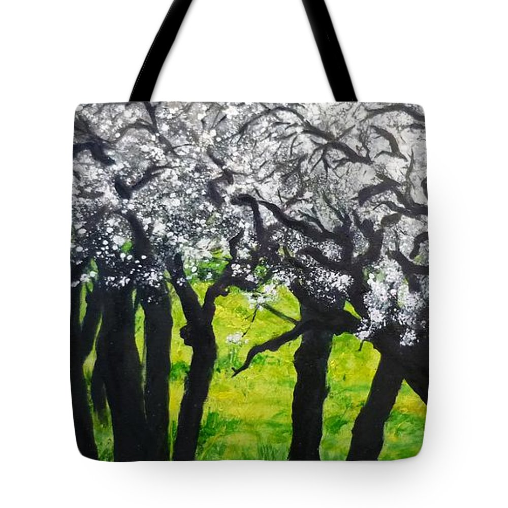 Almond Blossom Tote Bag featuring the painting My Love Of Trees II by Lizzy Forrester