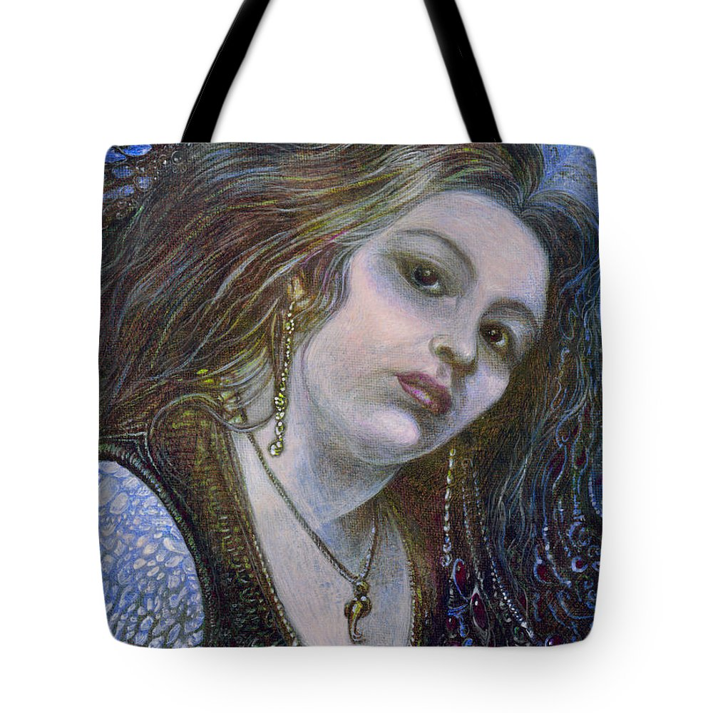 Fantasy Tote Bag featuring the painting My Mermaid Christan by Otto Rapp