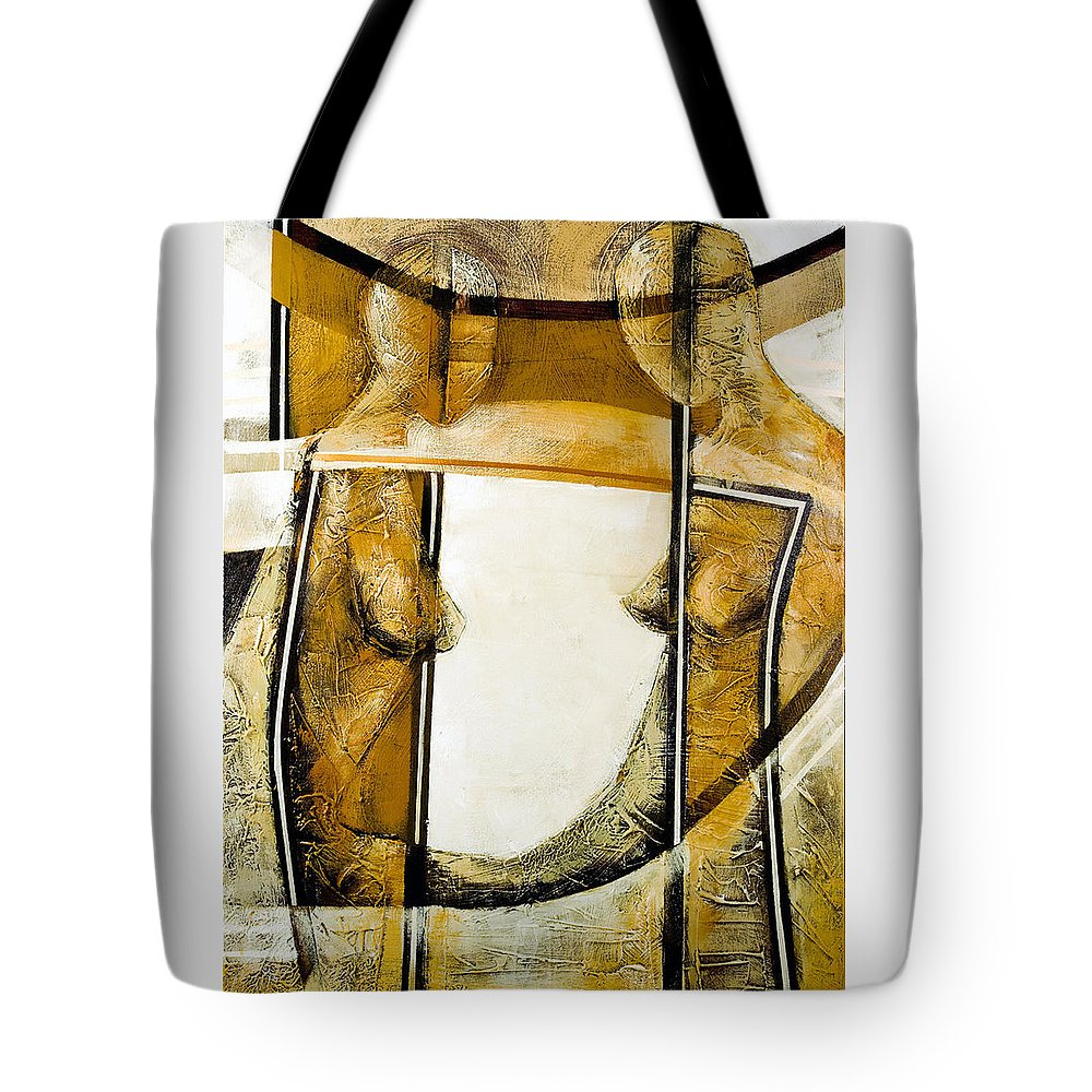Figurative Abstract Tote Bag featuring the painting My Mirror 2 by Milda Aleknaite