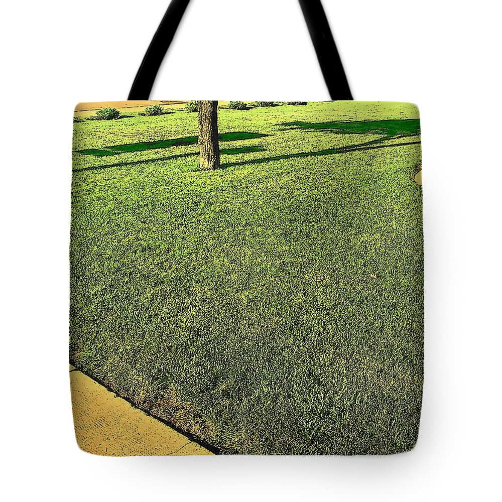 Abstract Tote Bag featuring the photograph My Neighbor's Yard by Lenore Senior