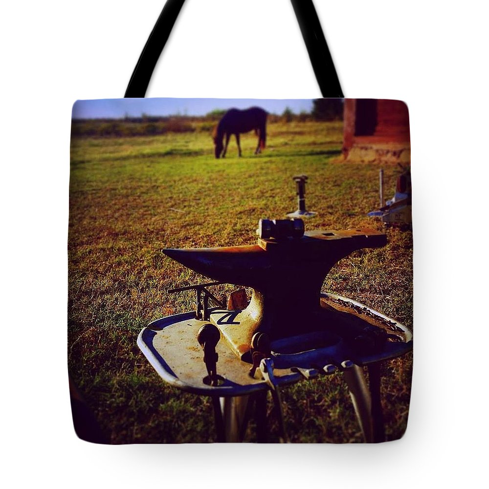 Horse Tote Bag featuring the photograph My Office by Cheyene Vandament