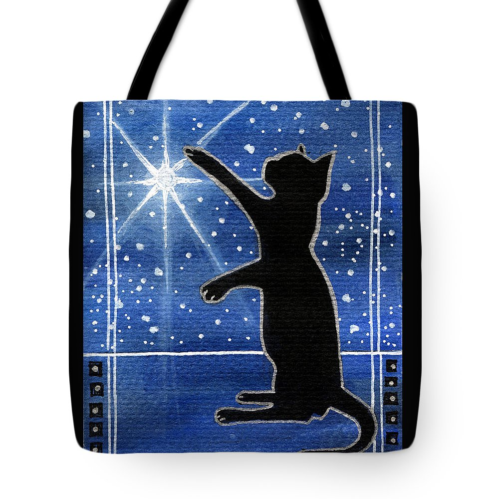 My Shinning Star Tote Bag featuring the painting My Shinning Star - Christmas Cat by Dora Hathazi Mendes