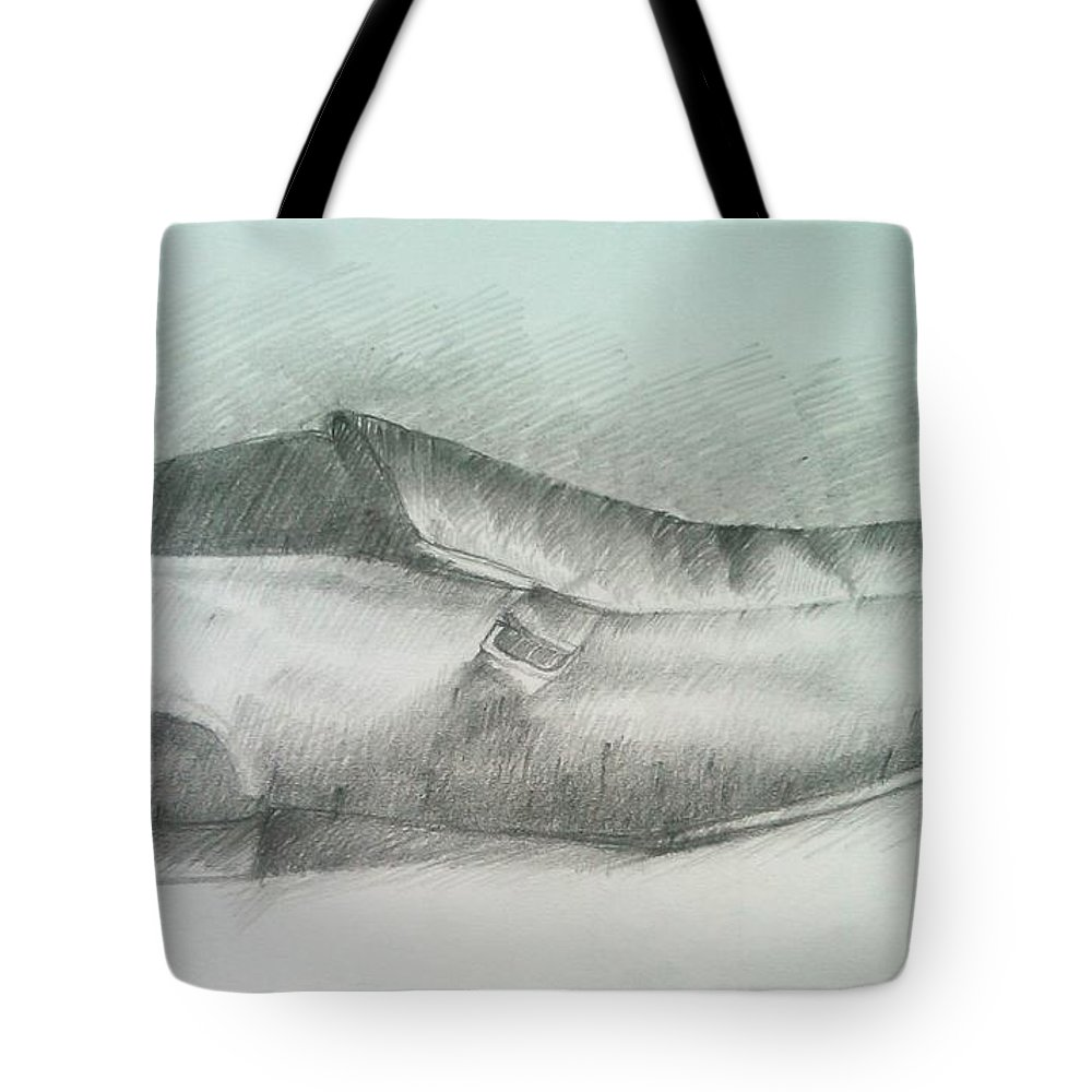 Drawings Tote Bag featuring the drawing My Shoe by Olaoluwa Smith
