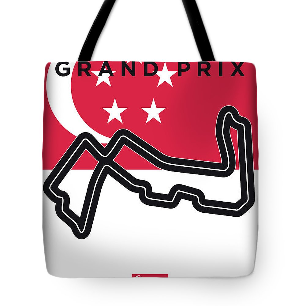 Singapore Tote Bag featuring the digital art My Singapore Grand Prix Minimal Poster by Chungkong Art