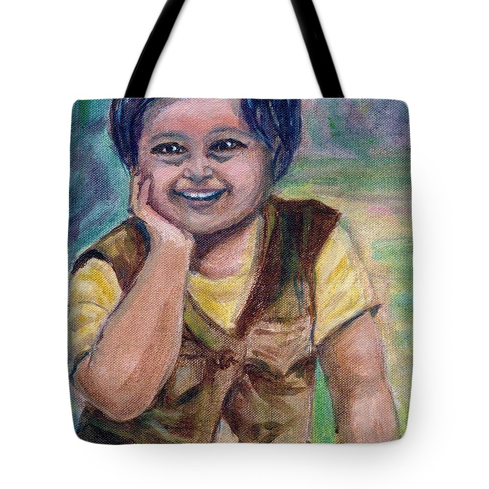 Little Boy Tote Bag featuring the painting My Son When He Was A Toddler by Asha Sudhaker Shenoy