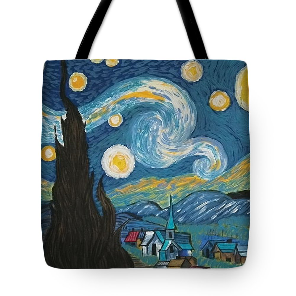 Vincent Tote Bag featuring the painting My Starry Nite by Angela Miles Varnado
