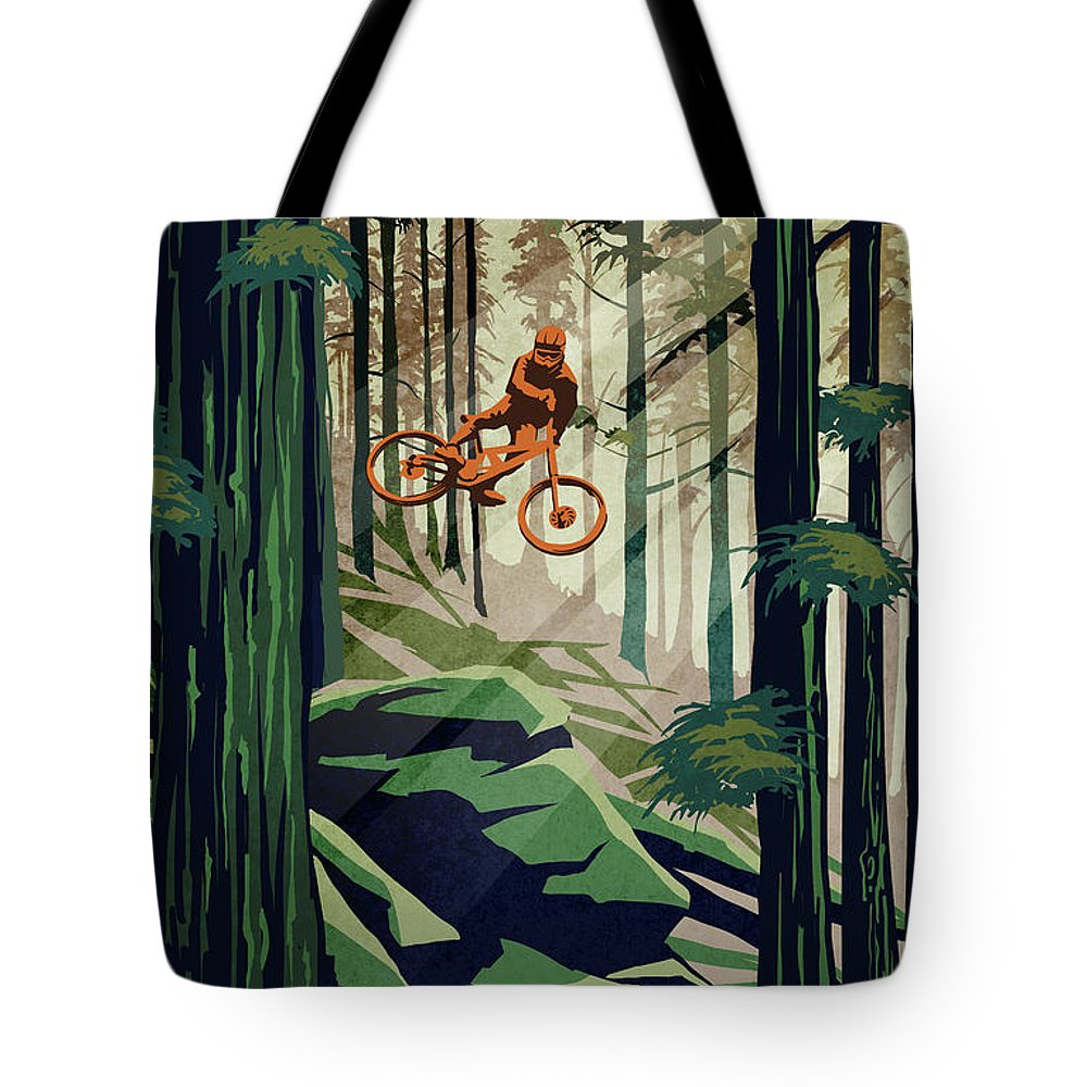 Mountain Bike Tote Bag featuring the painting My Therapy by Sassan Filsoof