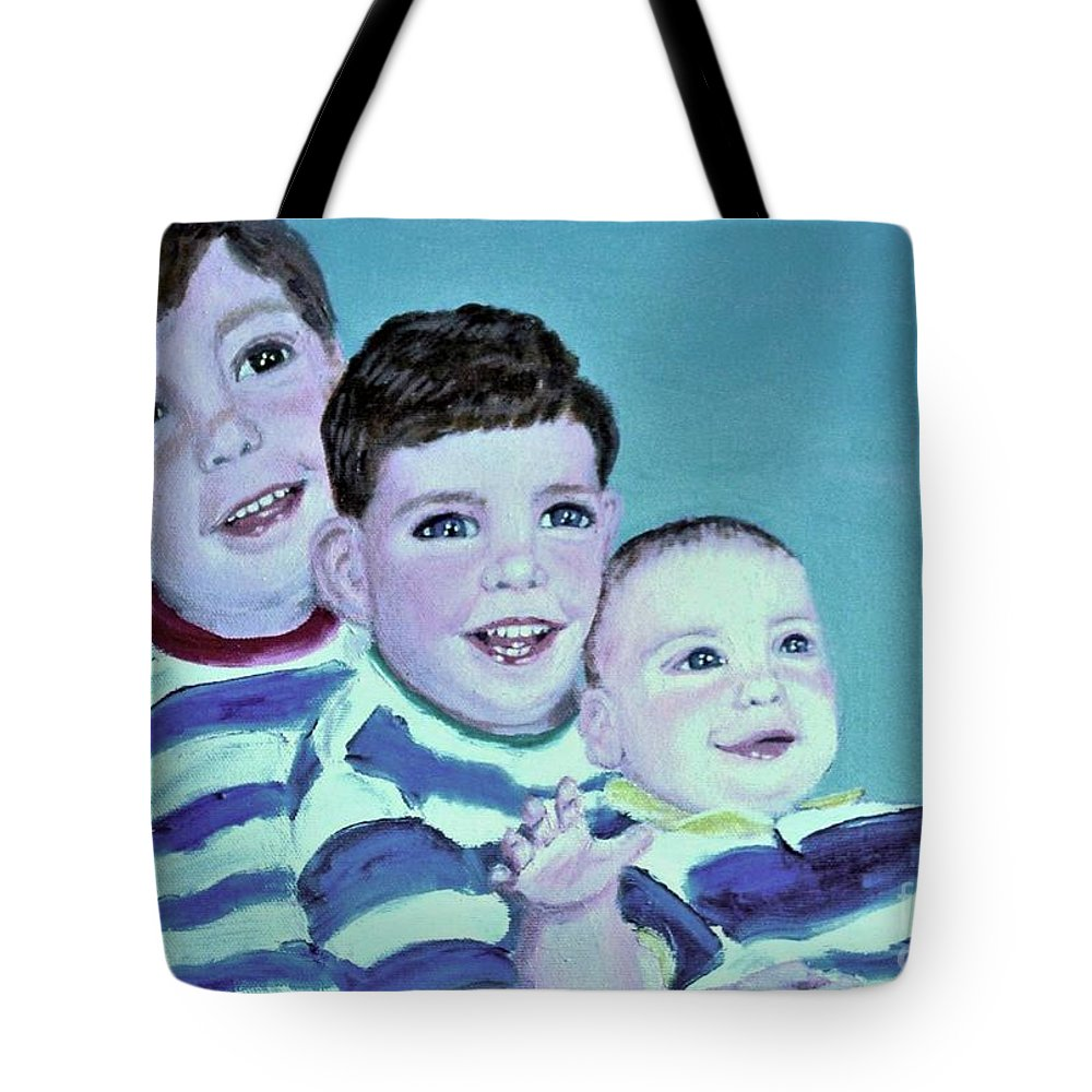 Children Tote Bag featuring the painting My Three Sons by Laurie Morgan