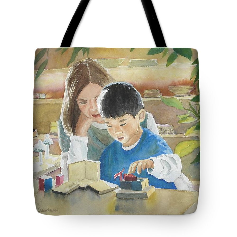 Boy Tote Bag featuring the painting My Work by Marilyn Jacobson