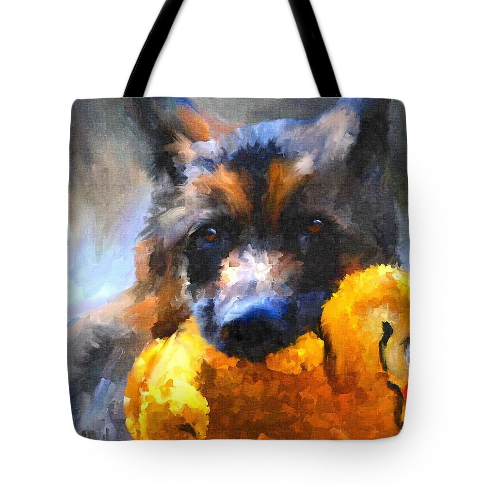 German Shepherd Tote Bag featuring the painting My Yellow Friend by Jai Johnson