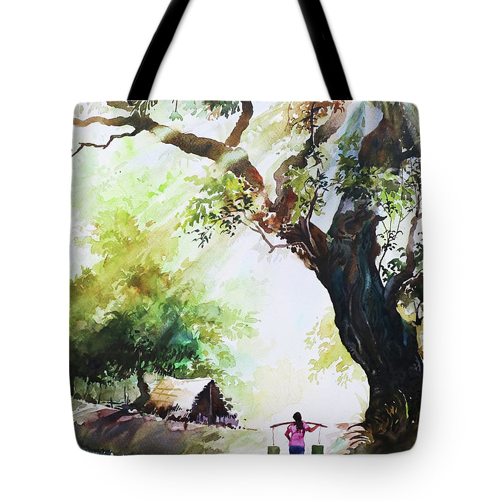 Landscape Tote Bag featuring the painting Myanmar Custom_03 by Win Min Mg