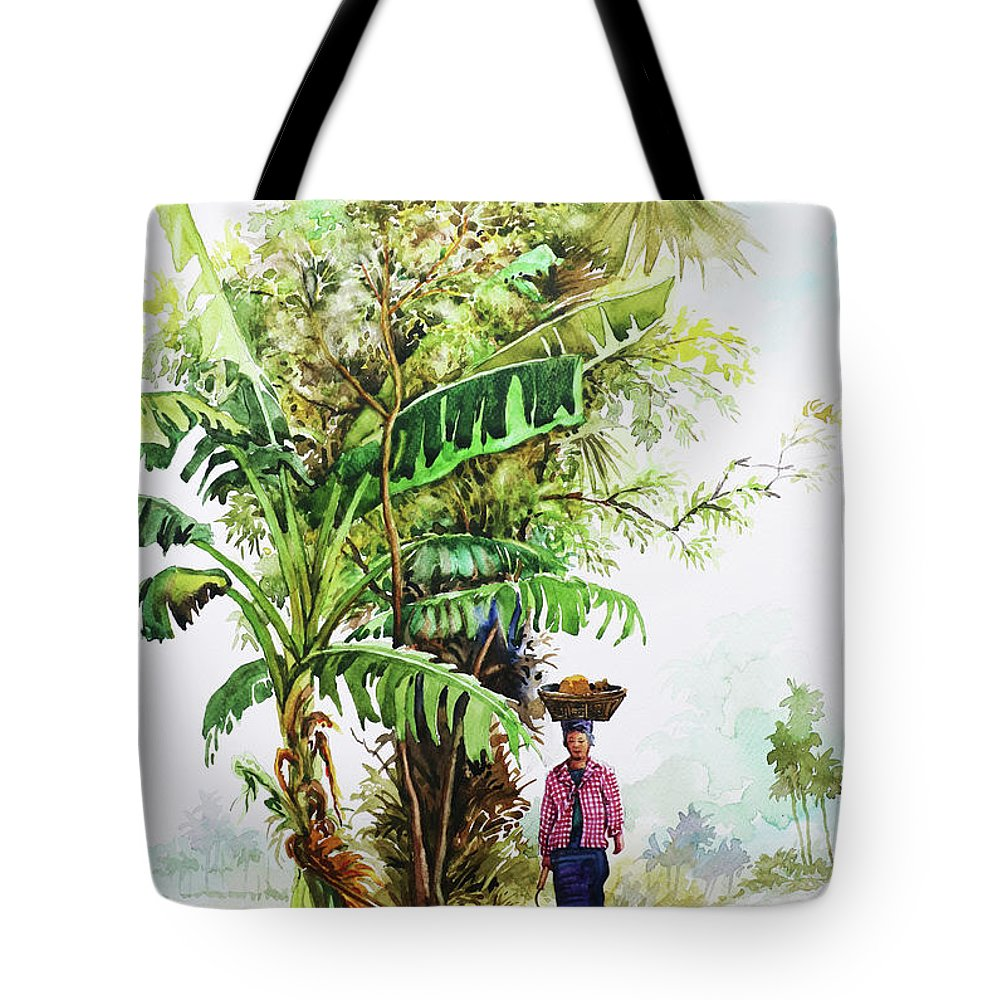 Landscape Tote Bag featuring the painting Myanmar Custom_05 by Win Min Mg